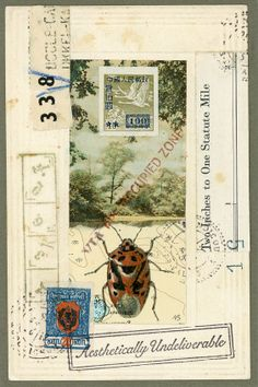 Preoccupied Bug. Original Mail Art by Nick Bantock.