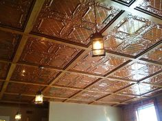 Ive always been facinated by tin pressed ceilings tiles. This would be perfect for a kitchen! Tin Tiles, Tin Ceiling Tiles, Ceiling Decor, Ceiling Beams, Ceiling Design, Tin Ceilings, Japanese Home Decor, Japanese House, Home Bar Rooms