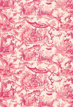 """""""Pavillon Chinois"""" Schumacher Fabric in """"Peony."""" This very classic scenic print takes inspiration from eighteenth century French chinoiserie paintings."""