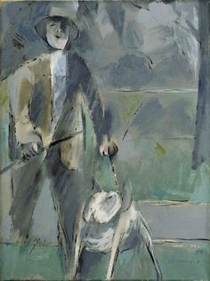Man and Dog - Louis le Broquy Irish Painters, Sean Scully, Contemporary Paintings, Abstract Paintings, Man And Dog, Irish Art, Portrait Inspiration, Dog Design, Dog Art