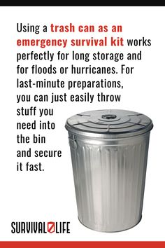 Use our trash can emergency survival kit list and tips to strike the perfect balance between having all of your necessities and still staying portably prepared. #trashcansurvivalkit #survivalkit #survivalhacks #survivaltips #survivallife Emergency Survival Kit, Emergency Preparation, Survival Hacks, Survival Life, Camping Survival, Life Tips, Life Hacks, Canning, Lifehacks