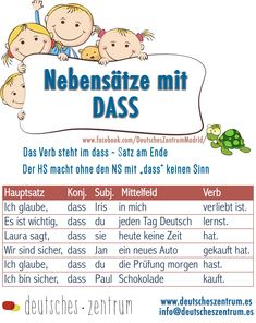 Subordinate clauses with DASS - German Language Study German, Learn German, German Grammar, German Words, Subordinating Conjunctions, German Resources, Deutsch Language, Idioms And Proverbs, German Language Learning