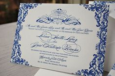 Blue Letterpress wedding design inspiration. Classy and Traditional - Lorna and Jose