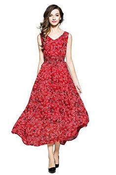 Joy EnvyLand Women's Floral Chiffon Maxi Summer Beach Evening Garden Party Dress