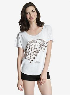 <p>Winter is coming. But…it's not here yet. This white dolman tee is the perfect way to show off your allegiance to House Stark, while keeping cool through summer.  </p><ul>	<li>50% polyester; 25% cotton; 25% rayon</li>	<li>Wash cold; dry low</li>	<li>Imported</li>	<li>Listed in women's sizes</li></ul>
