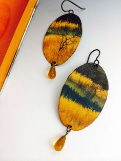 Landscape - These gold and green earrings resemble landscape paintings. Made from an up cycled Boy Scout tin