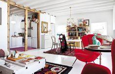 Madrid-penthouse-colorful-interior-design - Home Decorating Trends - Homedit Colorful Interior Design, Apartment Interior Design, Colorful Interiors, Madrid, Elle Decor, Living Room Designs, Living Room Decor, Living Area, Turbulence Deco