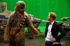 Prince Harry meets Chewbacca during a tour of the Star Wars sets at Pinewood studios on April 2016 in Iver Heath, England. Prince William and Prince Harry are touring Pinewood studios to visit. Get premium, high resolution news photos at Getty Images Prince Harry Photos, Prince William And Harry, Prince Henry, Star Wars Set, Star Wars Film, Daisy Ridley, Rian Johnson, John Boyega, Royal Life