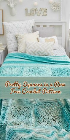 [Easy] Pretty Squares in a Row Bed Throw | Patterns Valley