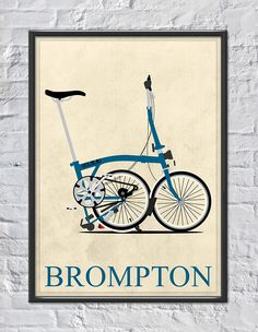 'Brompton Folding Bike' Poster by Andy Scullion Folding Bicycle, Bicycle Art, Brompton, Framed Art Prints, Canvas Prints, Bike Logo, Velo Vintage, Foto Transfer, Bike Poster