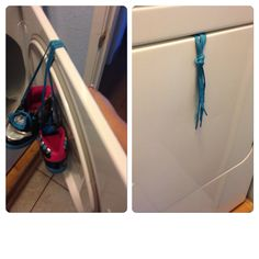 I washed my daughters shoes and to keep them from hitting in the dryer I put the laces over the door and closed it, no loud noises! I saw this here on Pinterest and it works great! The only thing I did different was tie the laces is a loose knot, the laces were slipping back inside the dryer.