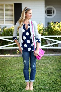 Blazer: French Connection via TJ Max last seen here; Navy Dots Beach Tunic: c/o Island Company; Jeans: c/o Windsor Store; Purse: JCrew; Shoes: Old Navy