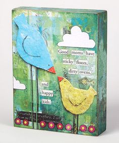 Take a look at this Green & Blue Bird 'A Great Mom' Box Sign by Collins on #zulily today!