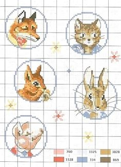 Free Beatrix Potter Animals Cross Stitch Chart Pattern