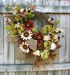 SALE Tuscan Autumn in Green, Brown and Cream Sunflower and Peony Wreath, XXXL, Fall, Burlap