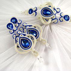 Серьги и браслет из слоновой кости свадьбы кристаллов оплетки chabrowymi.
