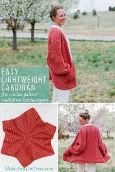 Two simple crochet hexagons transform into a lightweight, on-trend cardigan complete with cozy pockets and roomy bishop sleeves. This free, easy crochet sweater pattern and tutorial makes a great first garment for beginners and is perfect to wear in the spring or summer. Includes plus sizes and with Lion Brand Vanna's Style yarn. #makeanddocrew #cardigan #freepattern #sweater #easy #beginner #tutorial #pattern #free #hexagon #modern #stylish #women #plussize #lionbrandyarn via @makeanddocrew