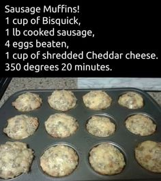 Sausage muffins These make a yummy breakfast on the run. Make them ahead and warm one up to take with you on those days you're running late. Breakfast Desayunos, Breakfast Items, Breakfast Dishes, Breakfast Recipes, Sausage Breakfast, Breakfast Cookies, Grab And Go Breakfast, Breakfast Casserole Bisquick, Breakfast Ideas With Eggs