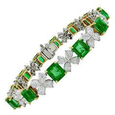 Cartier Emerald Diamond Bracelet | From a unique collection of vintage link bracelets at https://www.1stdibs.com/jewelry/bracelets/link-bracelets/