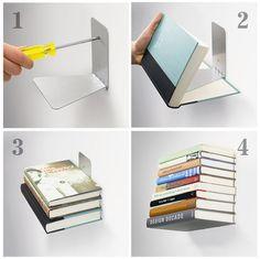Estante para libros de fácil instalación. Colócalos de preferencia sobre paredes completamente blancas para que luzcan y combinen no importando el color que sea. #DIY #Casa #Decoración