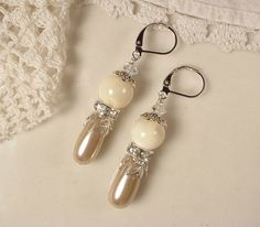 Vintage Champagne Pearl, Rhinestone and Ivory Mother of Pearl Silver Bridal Dangle Earrings