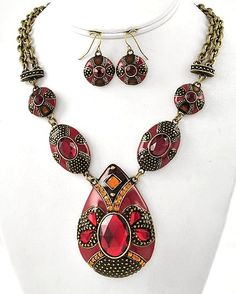 {Semi-Annual Sale} Crimson Crush Necklace & Earring Set now ONLY $24! Free Shipping. Gorgeous! #statement necklace