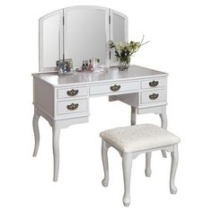 Showcasing flared wood legs and curved lines, this eye-catching vanity set is a perfect addition to your master suite or guest room.