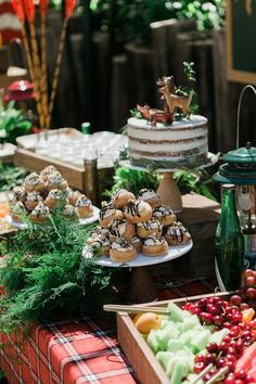 This Vintage camp birthday party used the reclaimed wooden trays to create a breakfast and dessert bar!