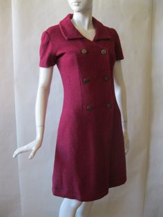 1960's double breasted mulberry red dress with by afterglowvintage, $58.00