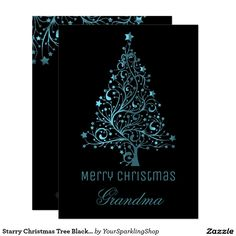 Starry Christmas Tree Black Blue Metallic Look  #ChristmasCard