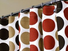 Shower Curtain With Red Tan And Brown Dots Circles Sized 72 X