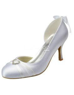 White Round Toe Bow Satin Bridal Wedding Shoes. See More Bridal Shoes at http://www.ourgreatshop.com/Bridal-Shoes-C919.aspx