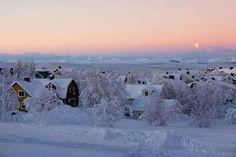Winter day in Kiruna, north of Sweden.