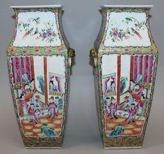 Par de vasos em porcelana Chinesa de Cantao do sec.19th, 40cm de altura, 4,300 USD / 3,890 EUROS / 16,590 REAIS / 27,190 CHINESE YUAN soulcariocantiques.tictail.com