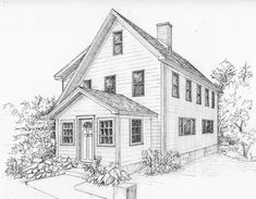 Items similar to Custom architectural illustration in ink of your home or cottage, house portrait, black and white ink sketch, house drawing from photo on Etsy 3d Drawings, Landscape Drawings, Pencil Drawings, Architecture Panel, Victorian Architecture, Architecture Details, Architecture Drawing Plan, Building Drawing, Building Sketch