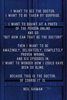 Neil Gaiman on the new Doctor