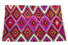 Multi-Colored Geometric Rug - eclectic - rugs - - by Shoppe By Amber Interiors Textures Patterns, Print Patterns, Pattern Ideas, Eclectic Rugs, Dark Wood Floors, Amber Interiors, Textiles, Up House, Fibre Textile