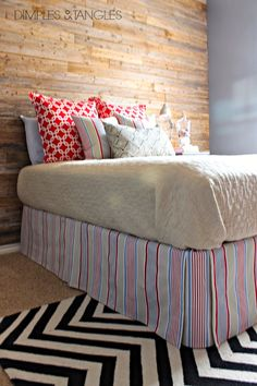 Now that our  new wood wall  is finished, I'm working full steam to finish up my teen boy's room.  You got a peek at some of the bedding wh...
