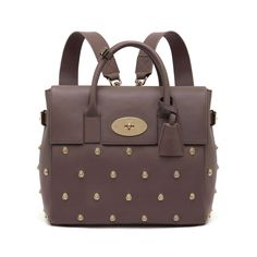 Mulberry Cara Delevingne bag in taupe Silky Classic Calf with Lion Rivets