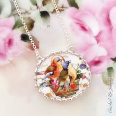 Broken China Jewelry. Broken China Necklace, Colorful Bird China Pattern Necklace by CrackedUpJewelry on Etsy https://www.etsy.com/listing/260877350/broken-china-jewelry-broken-china