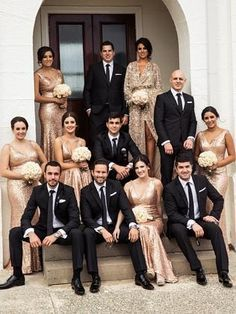 Rose gold sequins for the bridesmaids and groomsmen in black tie make for a glamorous bridal party #rosegoldwedding #blacktiewedding
