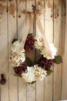 Hydrangea Wreath  Wedding Decor  Autumn by TheLinnetsWing on Etsy, $75.00