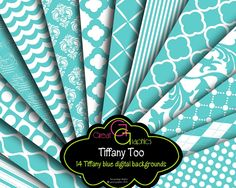 Tiffany Background Printable Tiffany Blue Digital Backgrounds-set 2