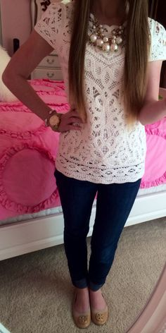 A pair of jeans paired with an extraordinary lace top with chunky pearl necklace to create bobo chic!