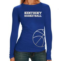 Kentucky Wildcats Ladies Metallic Basketball Premium Long Sleeve T-Shirt - Royal Blue- WANT