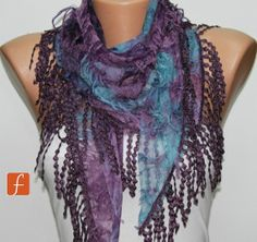 Purple Blue Scarf   Cowl with Lace Edge by Fatwoman by fatwoman, $17.00