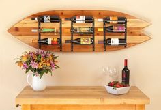 Surfboard Wine Rack. $675.00, via Etsy. I love this for a California kitchen :)
