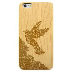 Dove Bird Paisley- Laser Engraved Wood Phone Case (Maple,Cherry,Black,Cork)