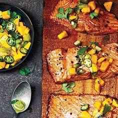 Cedar Plank-Grilled Salmon with Mango Kiwi Salsa Recipe | MyRecipes.com