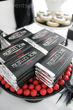 Party Favors at a Glam Party in red, black and white Party Favors at a Glam Party in red, black and white Roaring 20s Birthday Party, 30th Party, 30th Birthday Parties, 20th Birthday, 30th Birthday Favors, 50th Birthday Decorations, Party Wedding, Wedding Ideas, 1920s Party